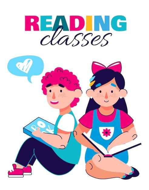 Banner de aulas de leitura para crianças, ilustração dos desenhos animados Vetor Premium
