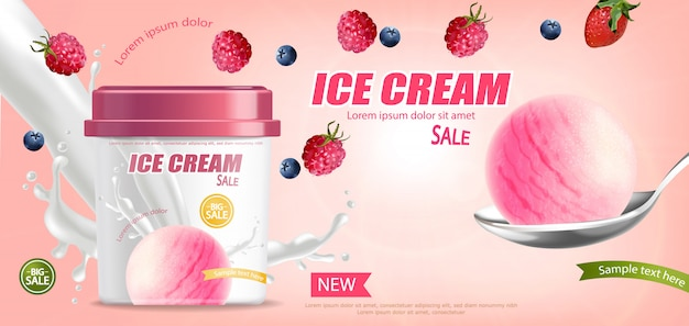 Banner de balde de sorvete Vetor Premium