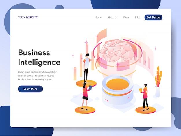 Banner de business intelligence da página de destino Vetor Premium