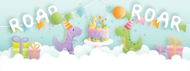 Banner de cartão de aniversário com dinossauro fofo e caixas de presente, bolo de aniversário. Vetor Premium