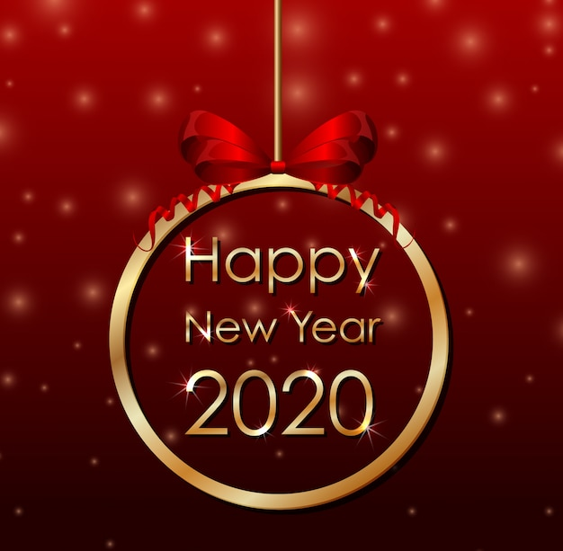 Banner de cartaz para o ano novo 2020 Vetor grátis