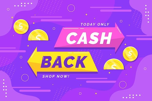 Banner de cashback com moedas ilustradas Vetor grátis