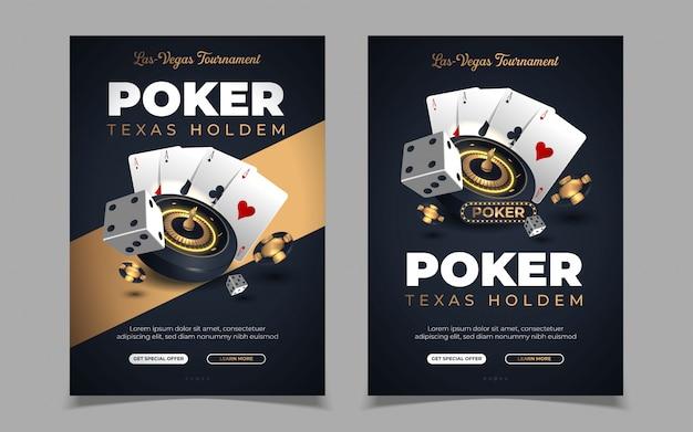 Banner de cassino com fichas de cassino e cartões. clube de poker texas holdem. Vetor Premium