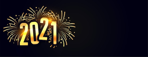 Banner de celebração de ano novo de 2021 com fogos de artifício explosivos Vetor grátis