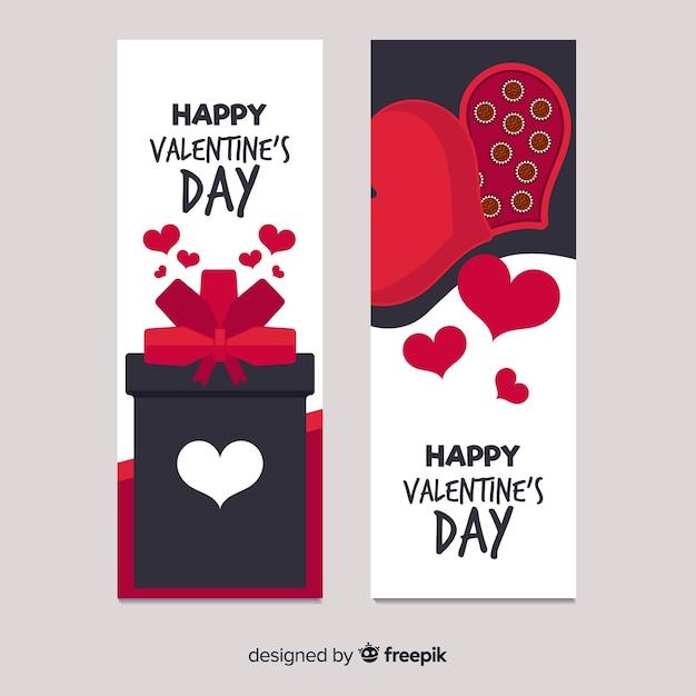 Banner de chocolate e presente dos namorados Vetor grátis