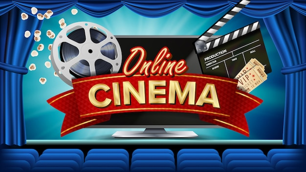 Banner de cinema on-line Vetor Premium