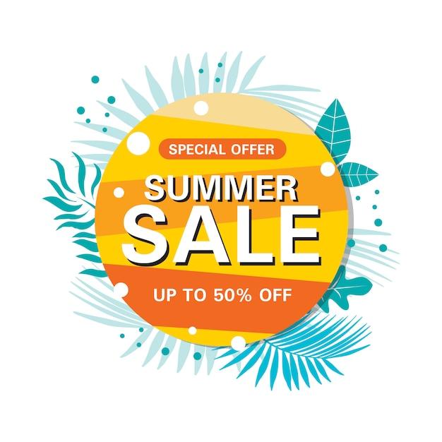 Banner de círculo abstrato de venda de verão Vetor Premium