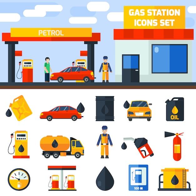 Banner de coleção de ícones de posto de gasolina de gás Vetor grátis