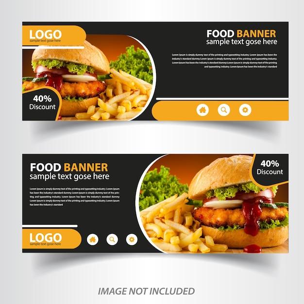 Banner de comida vegetal web para restaurante Vetor Premium