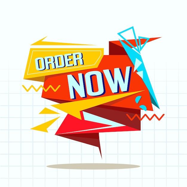 Banner de compra colorido pedido agora Vetor grátis