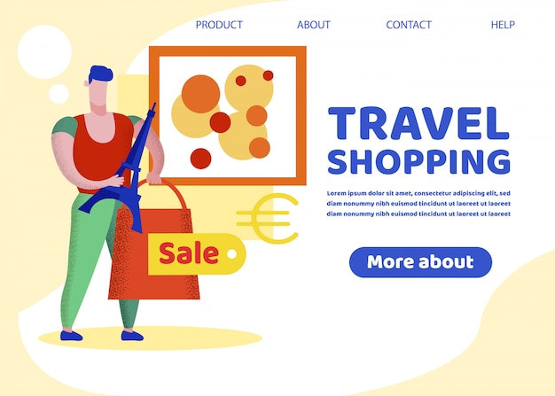 Banner de compras de viagem, viciado em compras, excursão a paris Vetor Premium
