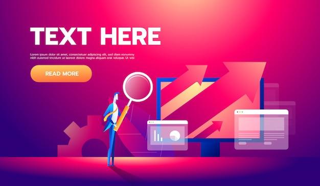 Banner de conceito de análise de negócios com personagens Vetor Premium