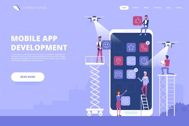 Banner de conceito de desenvolvimento de aplicativos para dispositivos móveis Vetor Premium