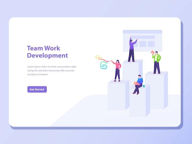 Banner de conceito de desenvolvimento de trabalho em equipe Vetor Premium