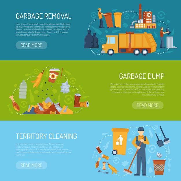 Banner de conceito de lixo Vetor grátis