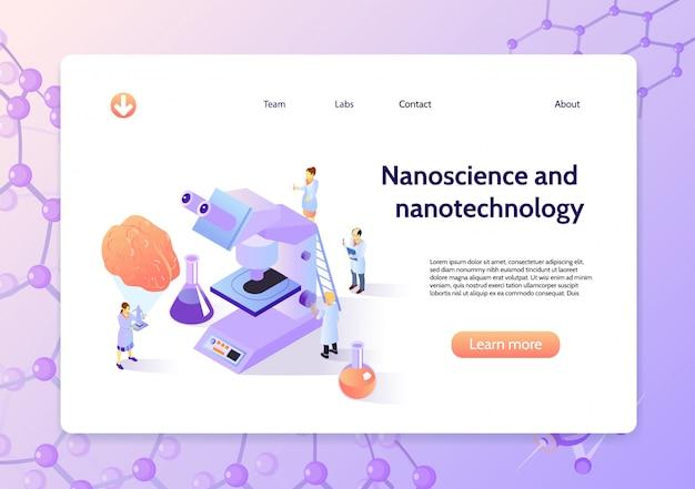 Banner de conceito de nanotecnologia isométrica horizontal com manchete de nanociência e nanotecnologia e botão aprender mais Vetor grátis