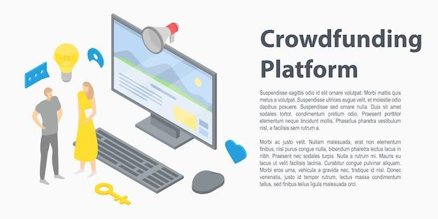 Banner de conceito de plataforma de crowdfunding, estilo isométrico Vetor Premium