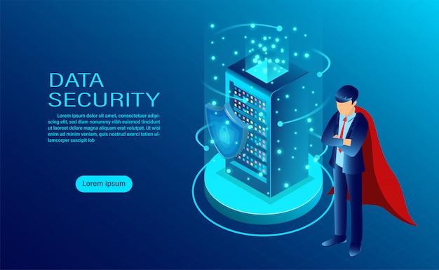 Banner de conceito de segurança de dados com herói proteger dados e confidencialidade Vetor Premium