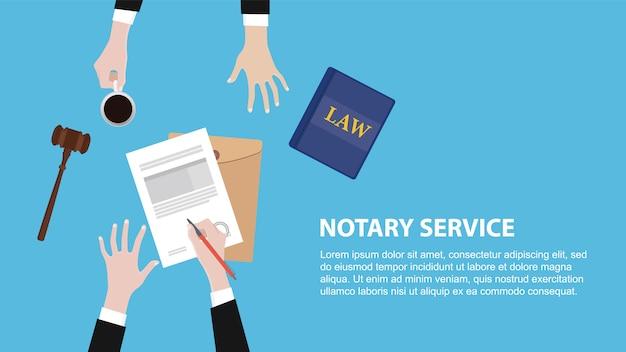 Banner de conceito de serviço de notário com equipe jurídica discutir Vetor Premium