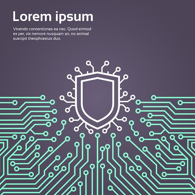 Banner de conceito de sistema de proteção de dados de rede de escudo Vetor Premium