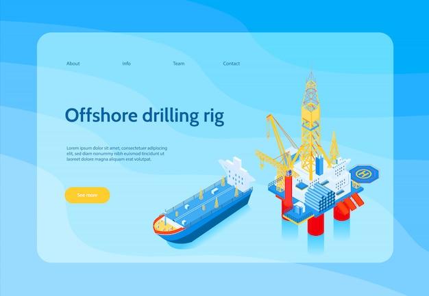 Banner de conceito horizontal indústria isométrica de petróleo com manchete de equipamento de perfuração offshore e amarelo ver mais botão Vetor grátis