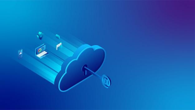 Banner de conexão do servidor de nuvem 3d Vetor Premium