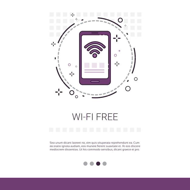 Banner de conexão sem fio de sinal wifi grátis Vetor Premium