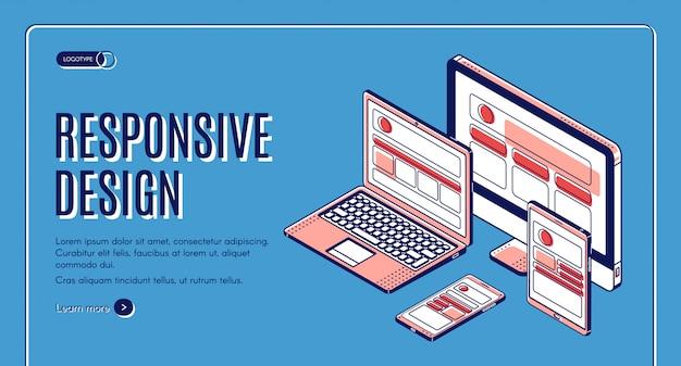 Banner de construção de página de destino de design responsivo Vetor grátis