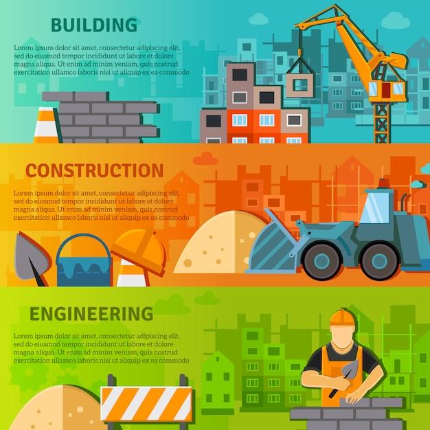 Banner de construção flat set Vetor grátis