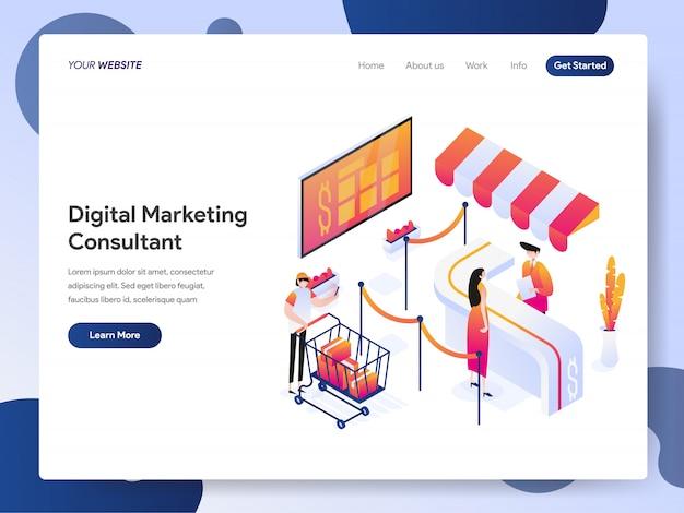 Banner de consultor de marketing digital da página de destino Vetor Premium