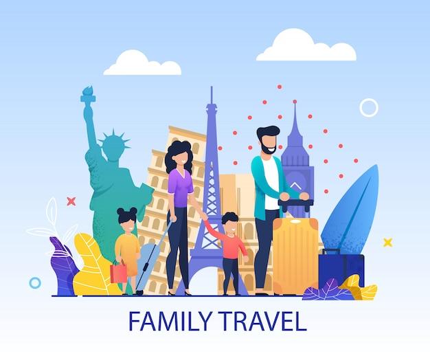 Banner de convite de desenhos animados de viagens em família Vetor Premium
