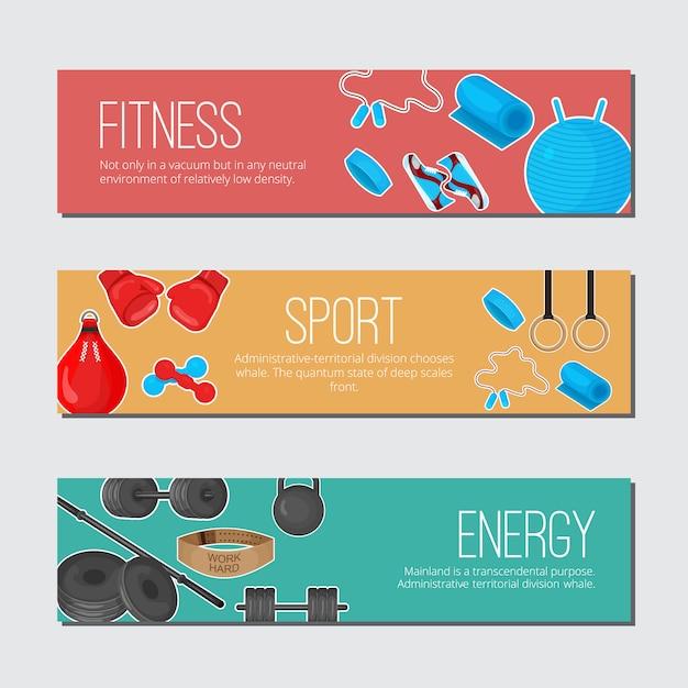 Banner de cor na moda plana com conjunto de elementos de equipamentos de esporte Vetor Premium