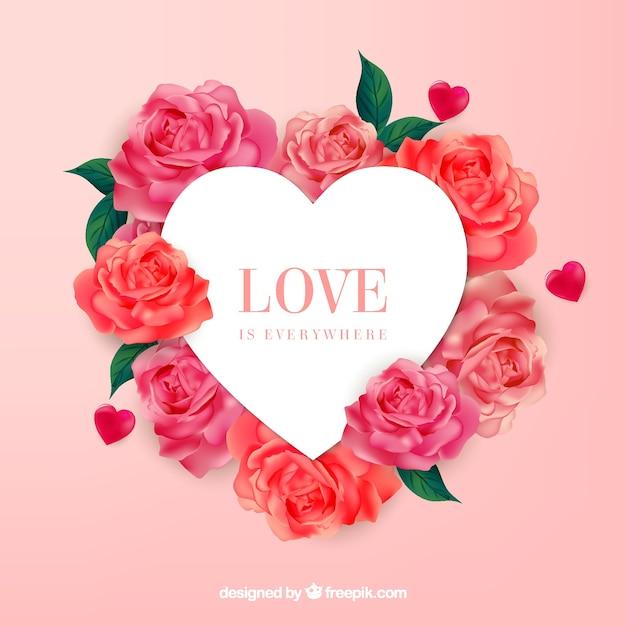 Banner de coração com lindas rosas Vetor grátis