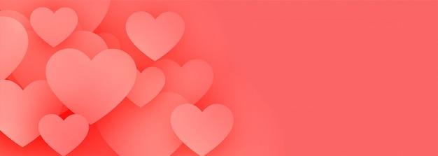 Banner de corações elegantes amor rosa com espaço de texto Vetor grátis