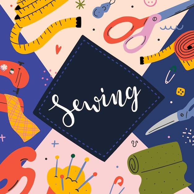 Banner de costura com ilustrações Vetor Premium