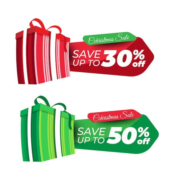 Banner de desconto para o natal Vetor Premium