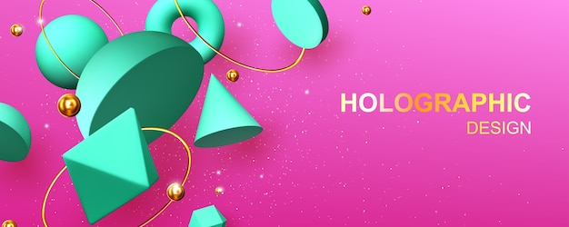 Banner de desenho abstrato holográfico com formas geométricas em 3d hemisfério, octaedro, esfera ou toro, cone, cilindro e pirâmide com icosaedro em fundo rosa com ilustração vetorial de pérolas de ouro Vetor grátis