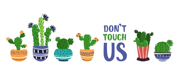 Banner de desenhos animados com plantas em vasos em casa, cactos Vetor Premium