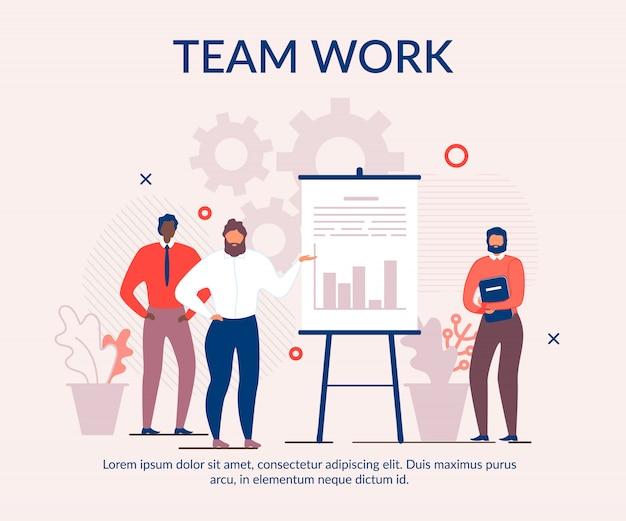 Banner de desenhos animados de texto publicidade eficaz trabalho em equipe Vetor Premium
