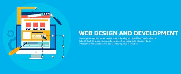 Banner de desenvolvimento de site. computador com ferramentas de construtor. Vetor grátis