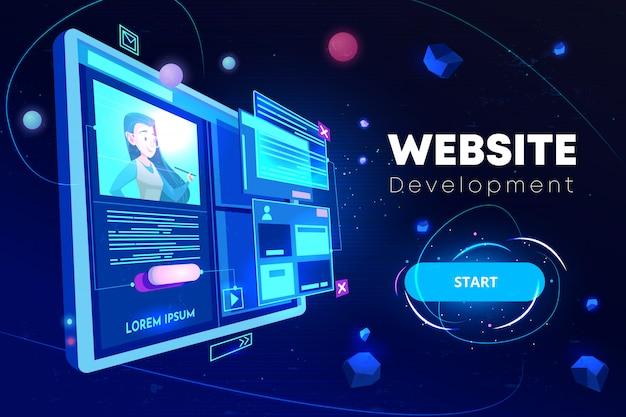 Banner de desenvolvimento de sites Vetor grátis