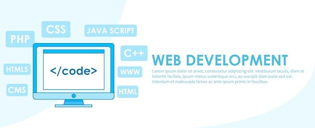Banner de desenvolvimento web. computador com janela um computador com uma janela do navegador. Vetor grátis