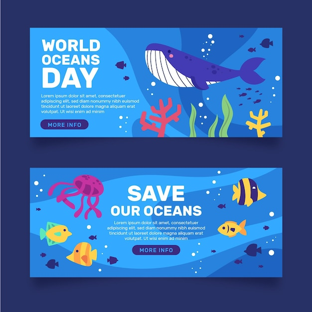 Banner de dia de oceanos de peixe e baleia Vetor grátis
