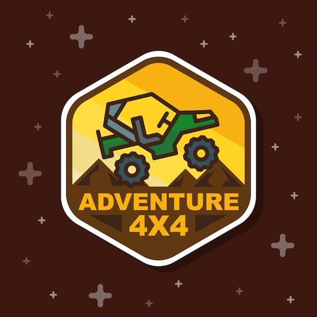 Banner de distintivo de aventura fora de estrada 3x3 Vetor Premium