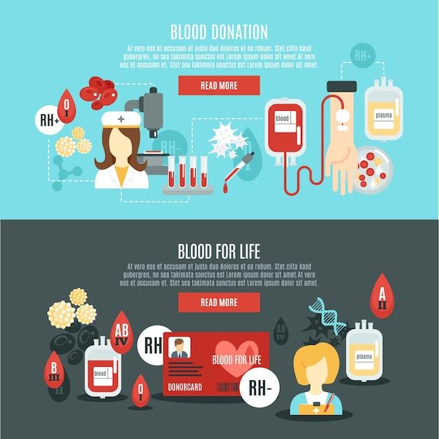 Banner de doador de sangue Vetor grátis