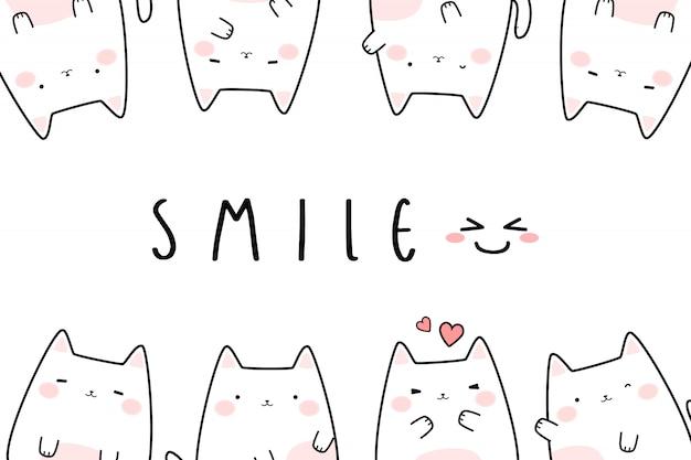Banner de doodle de gatinho fofo gato branco dos desenhos animados Vetor Premium