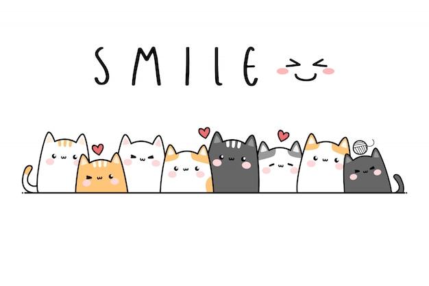 Banner de doodle de gato fofo gatinho família dos desenhos animados Vetor Premium