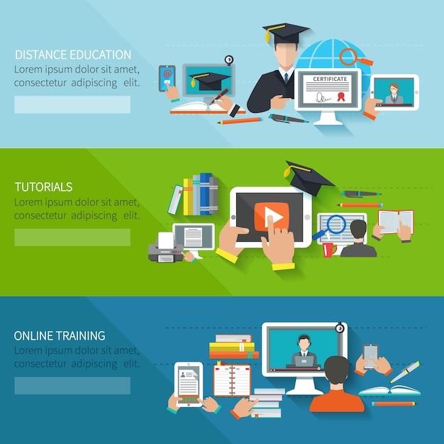 Banner de educação online Vetor grátis