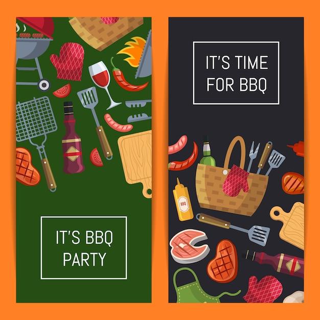 Banner de elementos de churrasco ou grelhados com lugar para ilustração de texto Vetor Premium