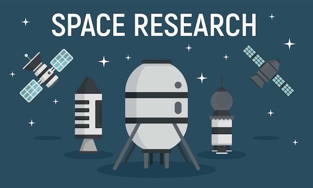 Banner de equipamento de pesquisa espacial, estilo simples Vetor Premium